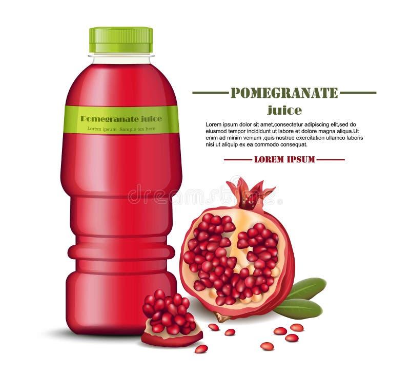 Moquerie de paquet de bouteille de jus de grenade  Boisson naturelle fraîche de vecteur réaliste Produits réalistes avec les frui illustration de vecteur