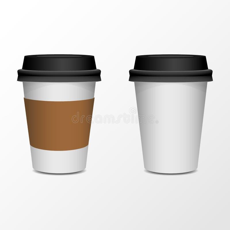 Moquerie de produit de tasse de café, isolat sur le blanc illustration libre de droits