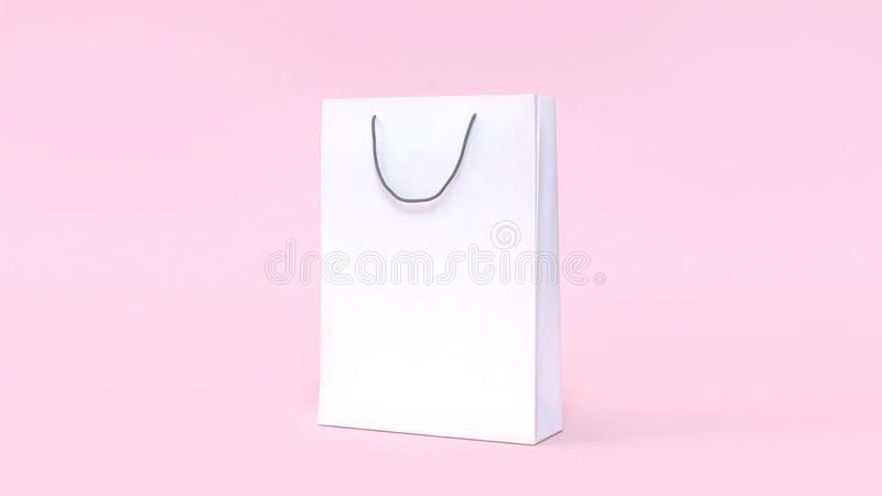 Moquerie de sac de livre blanc vers le haut de concept de achat minimal de fond mou de rose illustration stock
