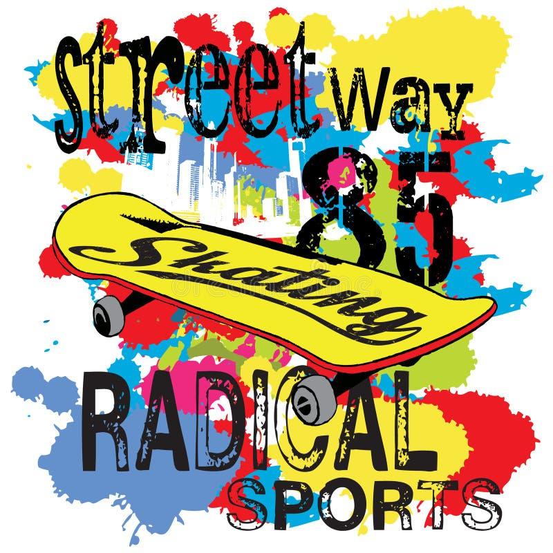 Moquerie de T-shirt de typographie de couleur d'eau de planche à roulettes  images stock
