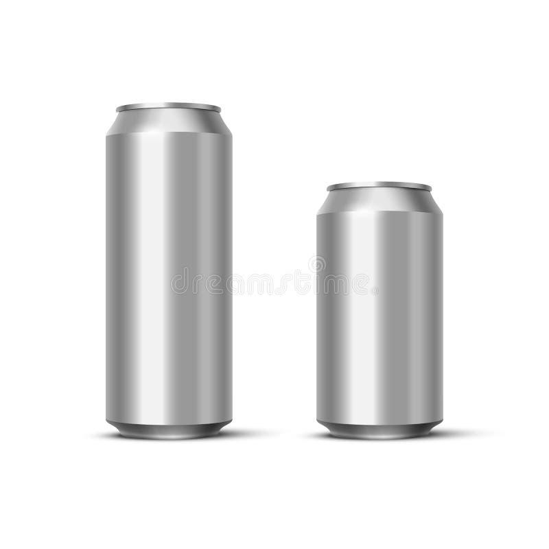 Moquerie en aluminium de paquet de bière ou de soude  Dirigez les boîtes métalliques vides réalistes d'isolement sur le fond blan illustration stock