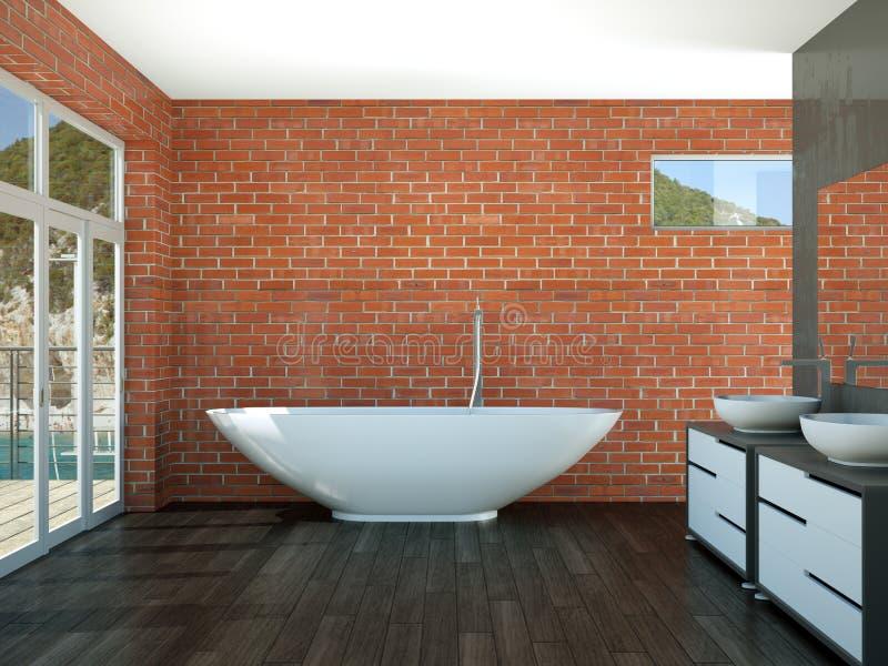 Moquerie intérieure du rendu 3d de salle de bains moderne  illustration de vecteur