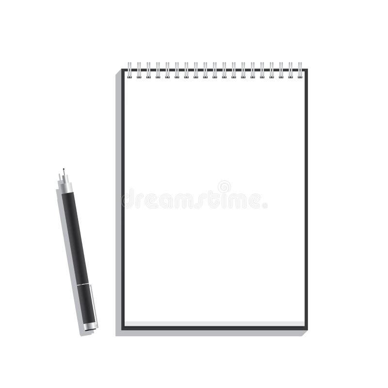 Moquerie noire de fil de stylo et de livre pour un certain message illustration de vecteur
