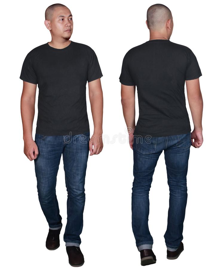 Moquerie noire de T-shirt, avant et vue arrière, d'isolement Maquette modèle masculine de chemise de noir de plaine d'usage photographie stock