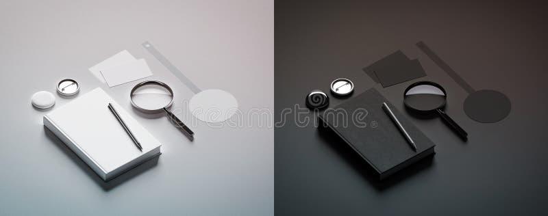 Moquerie noire et blanche de conception de présentation de livre vers le haut des éléments photographie stock libre de droits