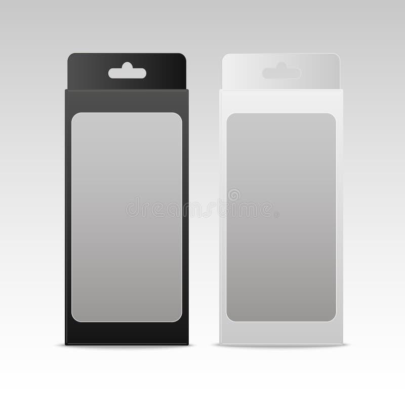 Moquerie noire et blanche vers le haut de boîte de paquet de produit avec la fenêtre Emballage de produit Vecteur illustration libre de droits