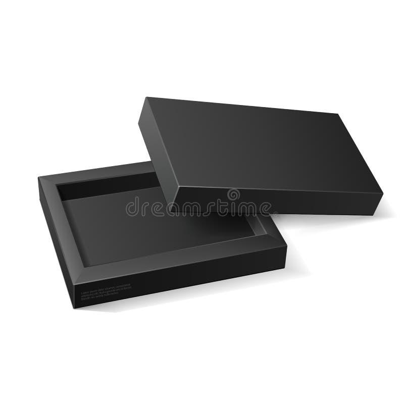 Moquerie noire ouverte de paquet de carton vers le haut de boîte Sucrerie de cadeau Sur le fond blanc d'isolement Préparez pour v illustration de vecteur