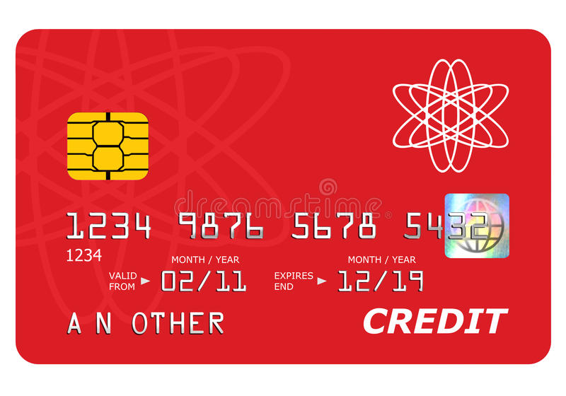 Moquerie par la carte de crédit de côté vers le haut d'isolement sur le blanc. illustration de vecteur