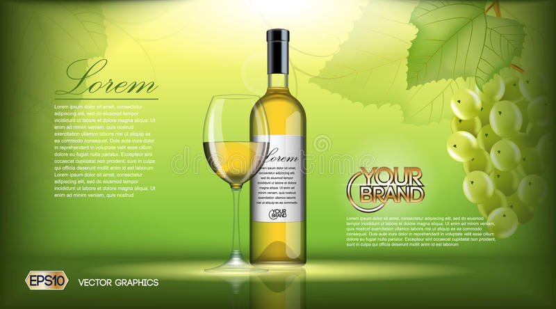 Moquerie réaliste de bouteille de vin de vecteur  Raisins blancs de vigne Fond naturel vert avec l'endroit pour votre marquage à  illustration de vecteur
