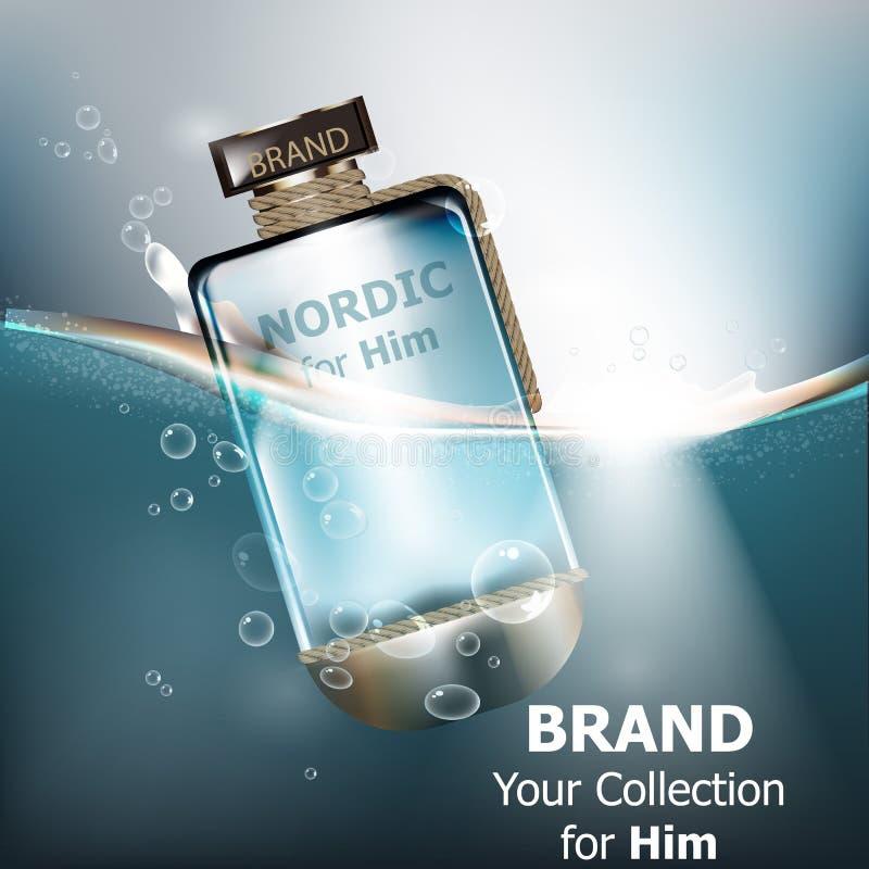 Moquerie réaliste de bouteille de parfum de vecteur  Cosmétiques détaillés de empaquetage de produit Milieux de l'eau illustration stock