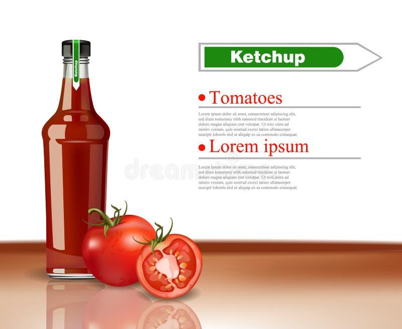 Moquerie réaliste de vecteur de bouteille de ketchup  Conception détaillée de empaquetage de produit Produits détaillés de tomate illustration libre de droits