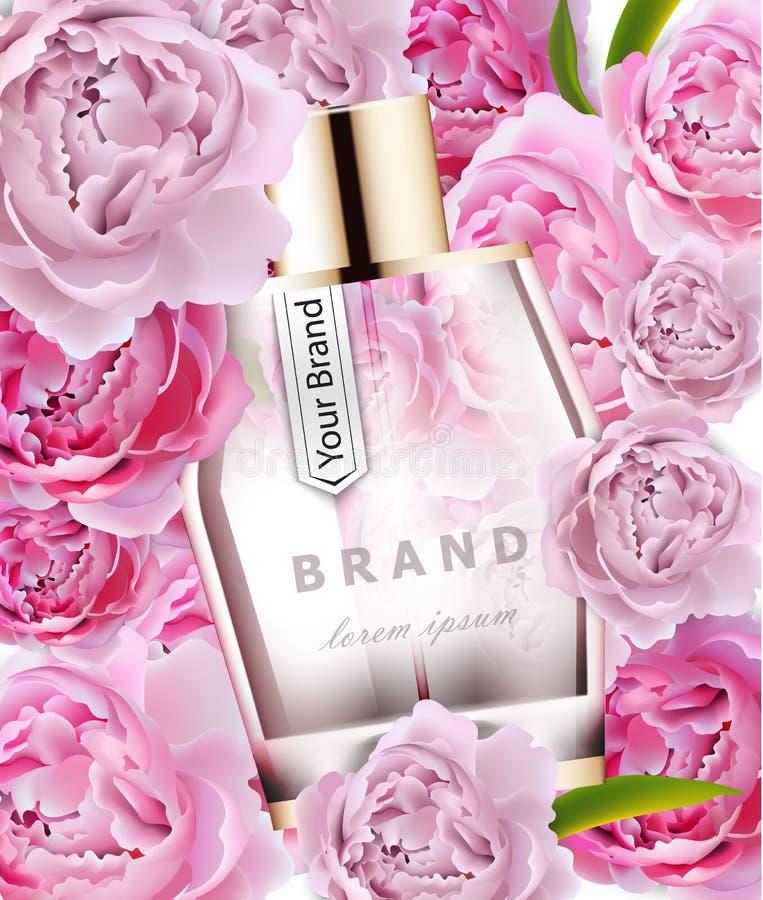Moquerie rose réaliste de bouteille de parfum de vecteur  Cosmétique détaillé de empaquetage de produit Fond de fleurs de pivoine illustration stock
