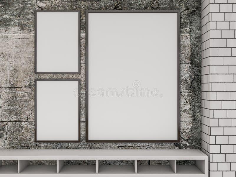 Moquerie vers le haut d'affiche à l'intérieur du salon 3d photos libres de droits