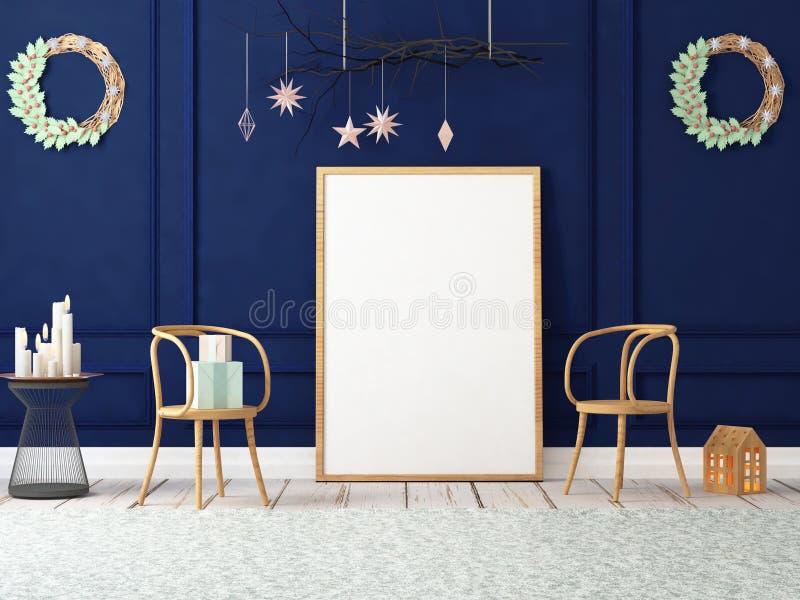 Moquerie vers le haut d'affiche dans l'intérieur de Noël illustration 3D 3d rendent illustration libre de droits