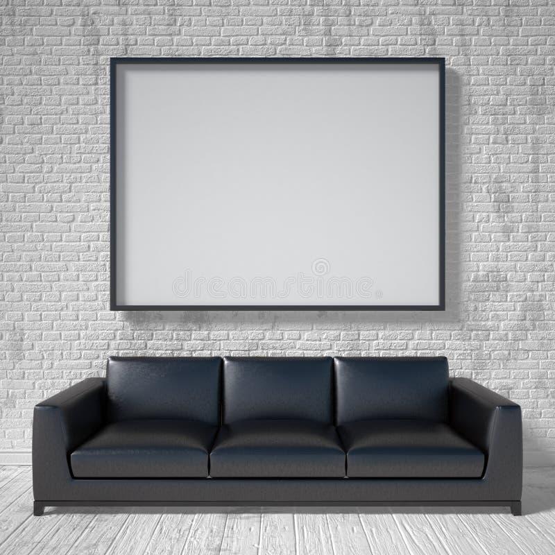 Moquerie vers le haut d'affiche, sofa en cuir noir 3d illustration libre de droits