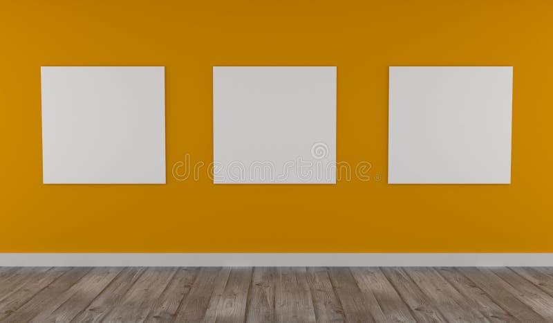 Moquerie vers le haut d'affiche sur le mur jaune images stock