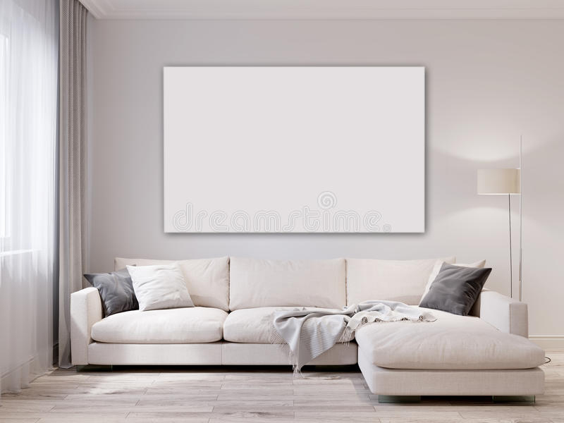 Moquerie vers le haut d'intérieur moderne de salon de mur blanc illustration libre de droits