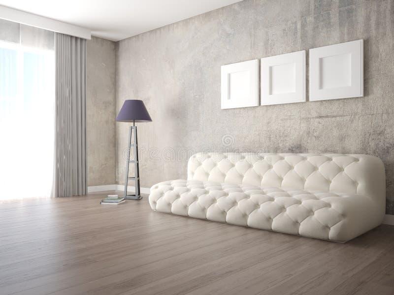Moquerie vers le haut d'un salon spacieux avec un sofa lumineux original illustration stock