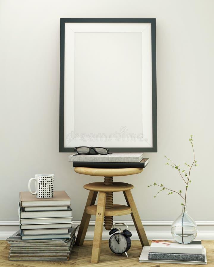 Moquerie vers le haut de cadre d'affiche avec le fond d'intérieur de grenier de vintage illustration libre de droits