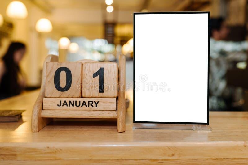 Moquerie vers le haut de cadre de menu dans le restaurant de barre photo libre de droits