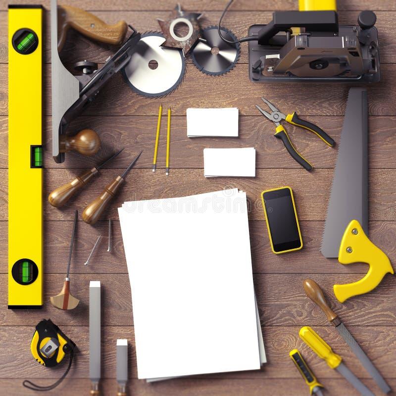 Moquerie vers le haut de calibre d'affaires L'espace de travail du charpentier illustration libre de droits