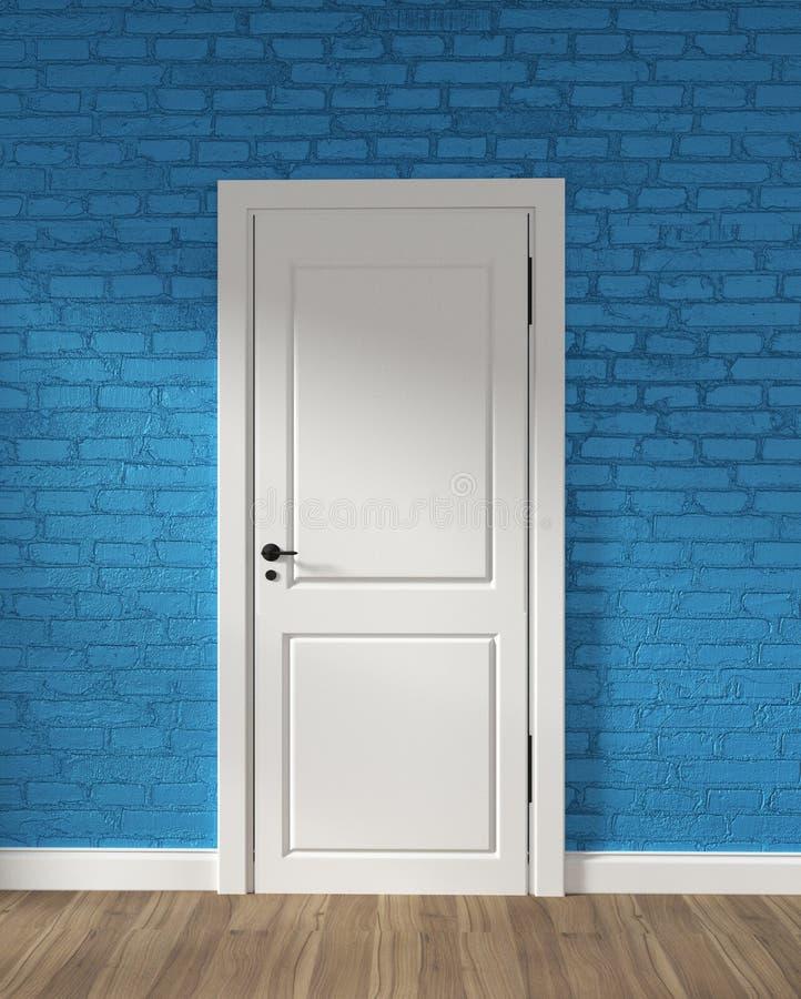 Moquerie vers le haut de la porte blanche de grenier moderne et du mur de briques bleu sur le plancher en bois rendu 3d illustration stock