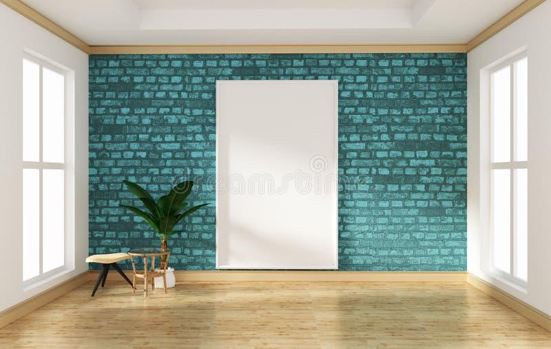 Moquerie vers le haut de mur de briques vide de menthe de pièce de conception intérieure et moquerie en bois de plancher  rendu 3 illustration de vecteur