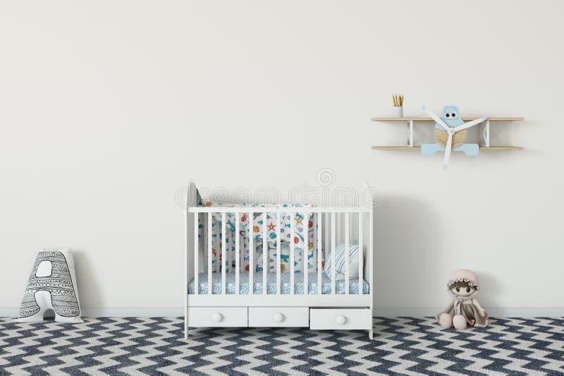 Moquerie vers le haut de mur dans l'intérieur de chambre d'enfant Style scandinave intérieur 3D rendu, illustration 3D illustration stock