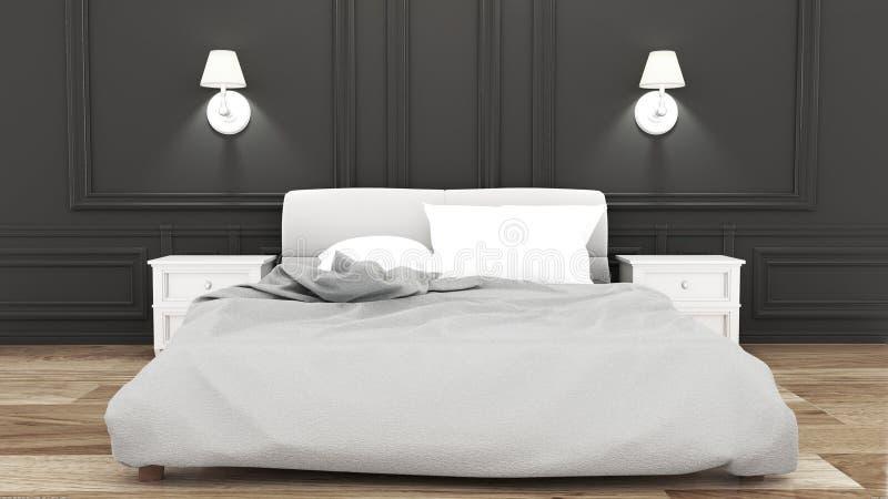 Moquerie vers le haut de pièce de lit d'élégance sur le style de luxe de mur noir rendu 3d illustration stock