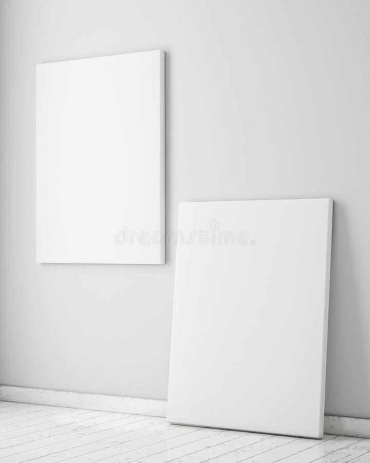 Moquerie vers le haut des affiches avec le fond intérieur de grenier, photographie stock libre de droits