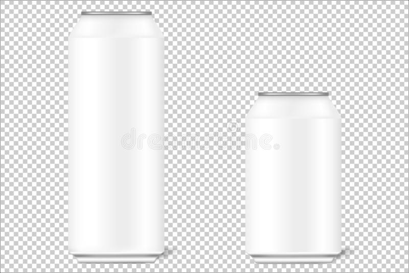 Moquerie vers le haut des boîtes 3d de 330 ml et de 500 ml pour la bière, alcool, boissons non alcoolisées, boissons carbonatées, illustration de vecteur