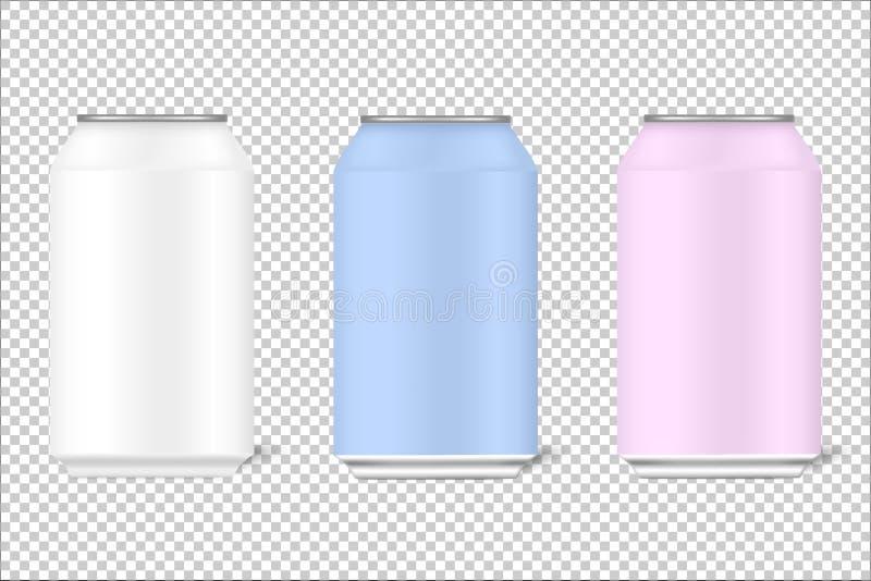 Moquerie vers le haut des boîtes 3d de 330 ml pour la bière, alcool, boissons non alcoolisées, boissons carbonatées, kola, boisso illustration stock