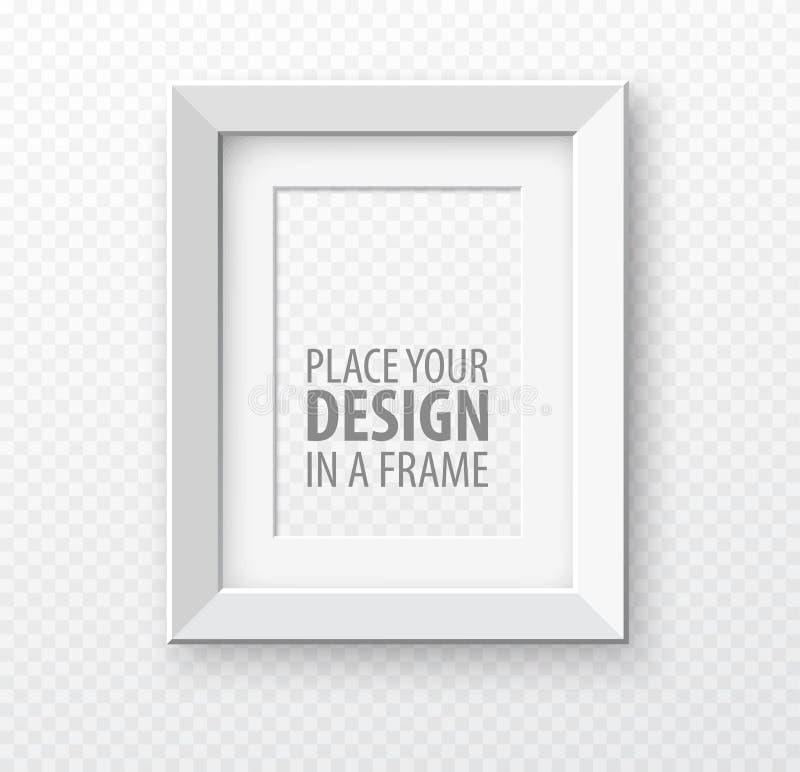 Moquerie verticale de cadre sur le fond de transparence avec les ombres réalistes Illustration de vecteur illustration stock