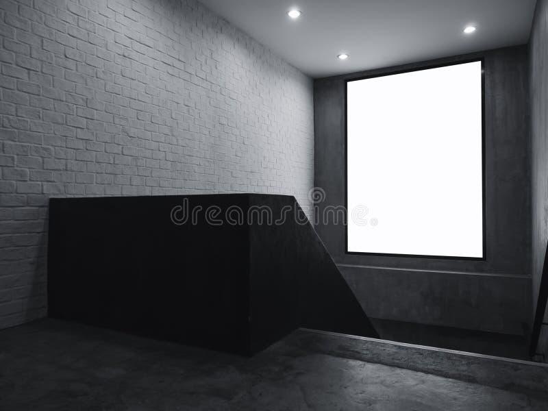 Moquerie vide de bannière vers le haut du signe de caisson lumineux d'intérieur avec des escaliers image libre de droits