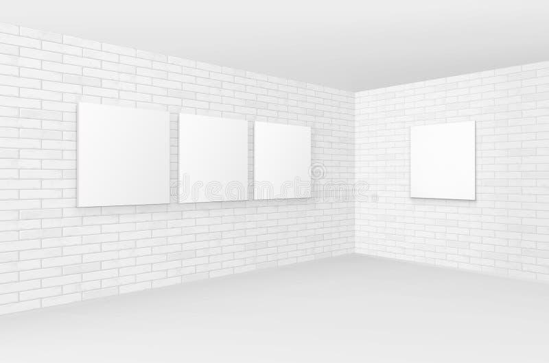 Moquerie vide de blanc de vecteur vers le haut des cadres de tableau d'affiches illustration de vecteur