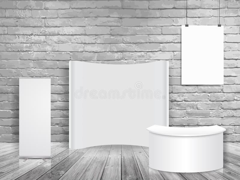 Moquerie vide de cabine de salon commercial d'exposition de vecteur dans la pièce blanche de mur de briques illustration stock
