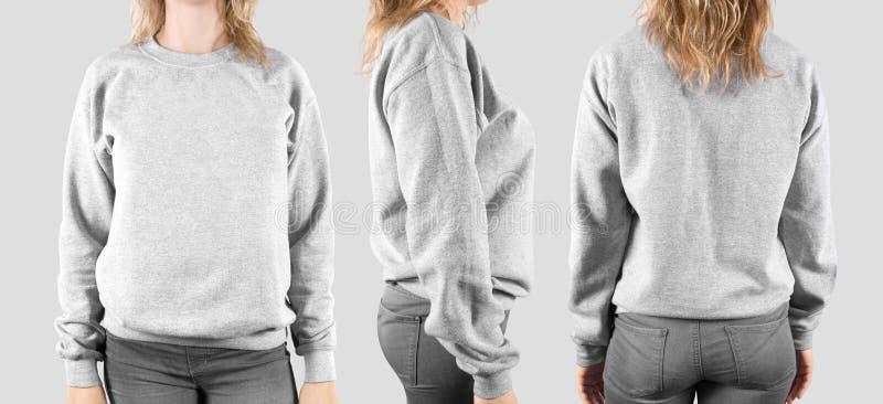 Moquerie vide de pull molletonné, avant, dos et profil, photo stock