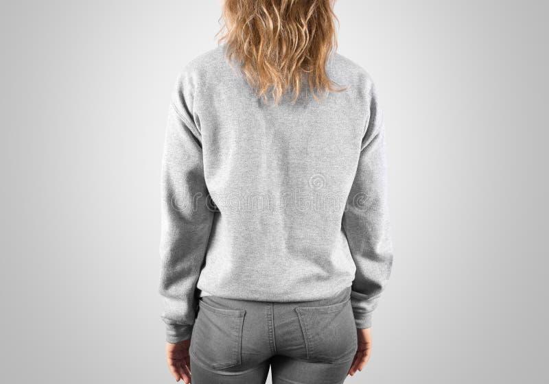 Moquerie vide de pull molletonné vers le haut de la vue d'arrière, d'isolement, chemin de coupure photos stock