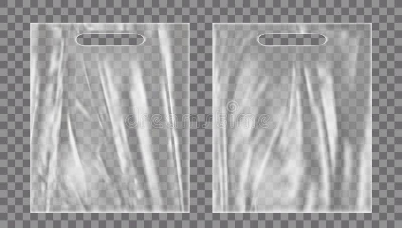 Moquerie vide de sachet en plastique  Paquet vide de polyéthylène illustration stock