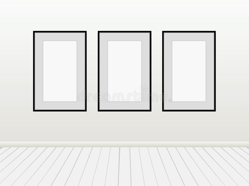 Moquerie vide vide de blanc de trois vecteurs vers le haut des cadres de noir de photos d'affiches sur un mur illustration de vecteur