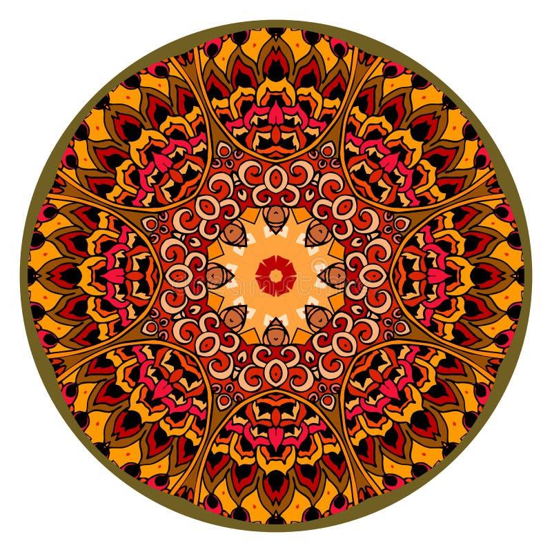 Moquette rotonda Motivi cinesi o indiani dell'Azteco, Illustrazione di vettore illustrazione di stock