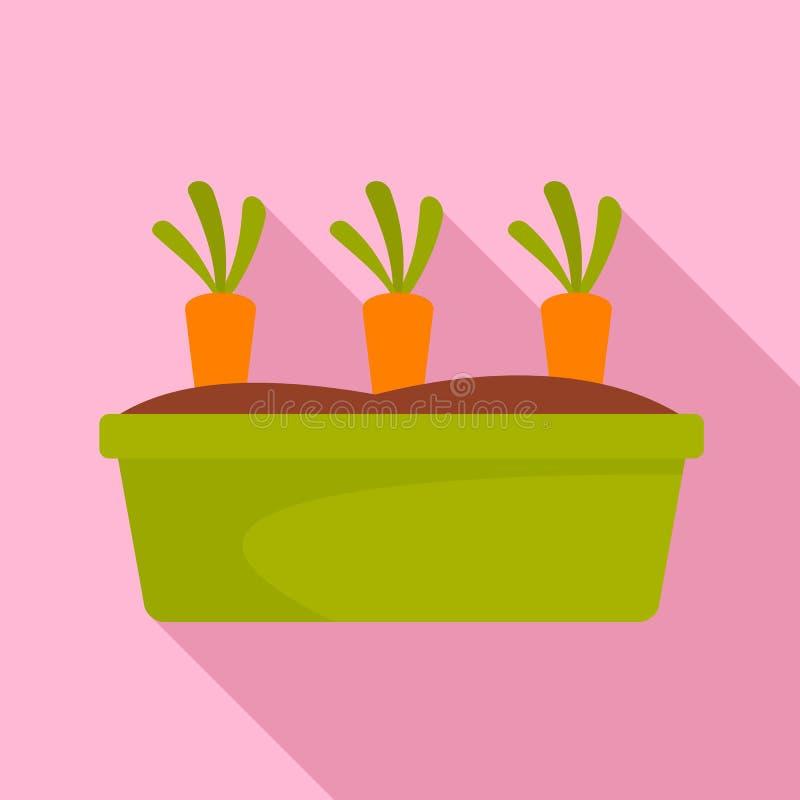 Morötter i den trädgårds- symbolen, lägenhetstil royaltyfri illustrationer