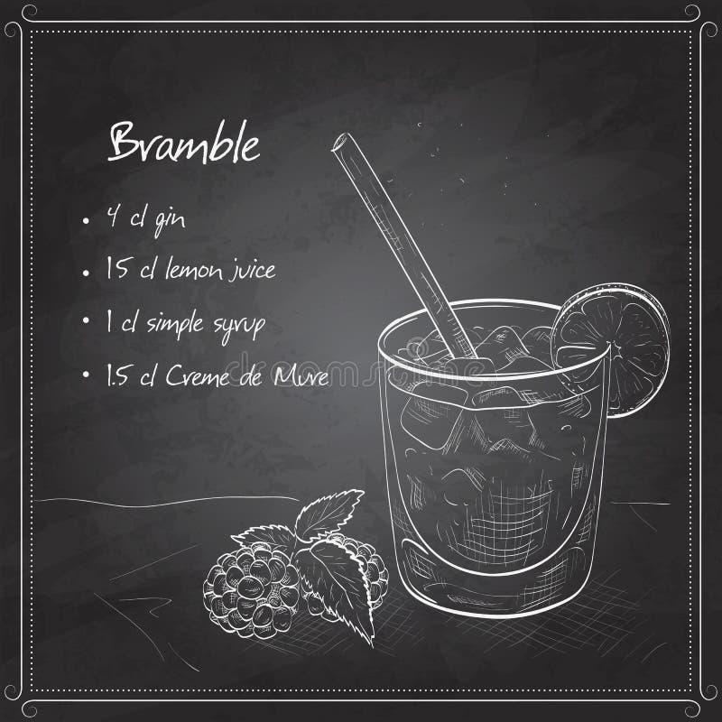 Mora del cocktail sul bordo nero royalty illustrazione gratis