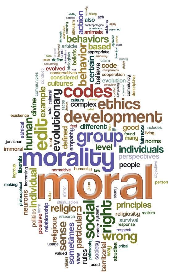 Moraal wordcloud stock illustratie