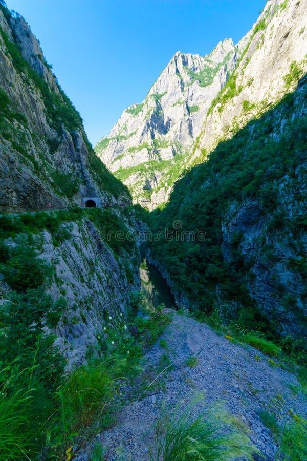 Moraca河和峡谷 免版税库存照片