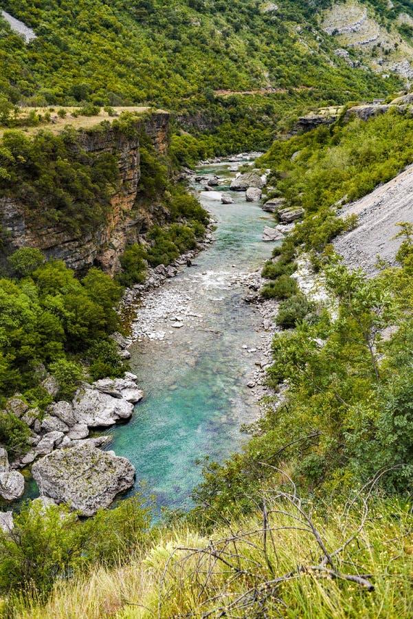 Moraca河峡谷在黑山 免版税库存照片