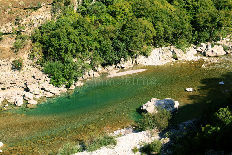 Moraca河峡谷 库存照片