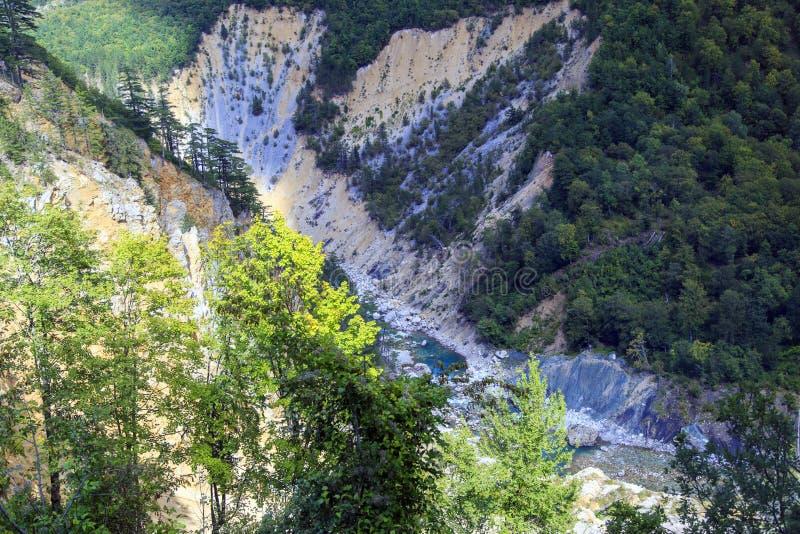 Moraca河,黑山峡谷  库存图片