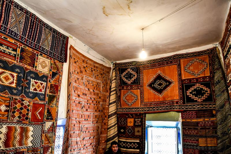 moraccan carpets in the market, morocco royalty free stock photography