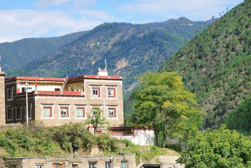 Moradia vernáculo tibetana fotografia de stock